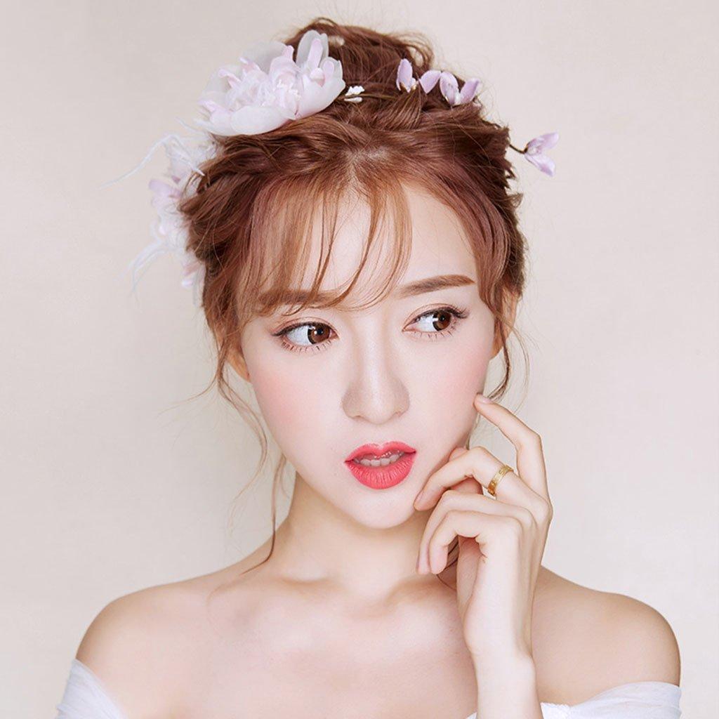 Wreath Flower, Headband Flower Garland Handmade Wedding Bride Party Ribbon Headband Wristband Hairband (Color : Pink)