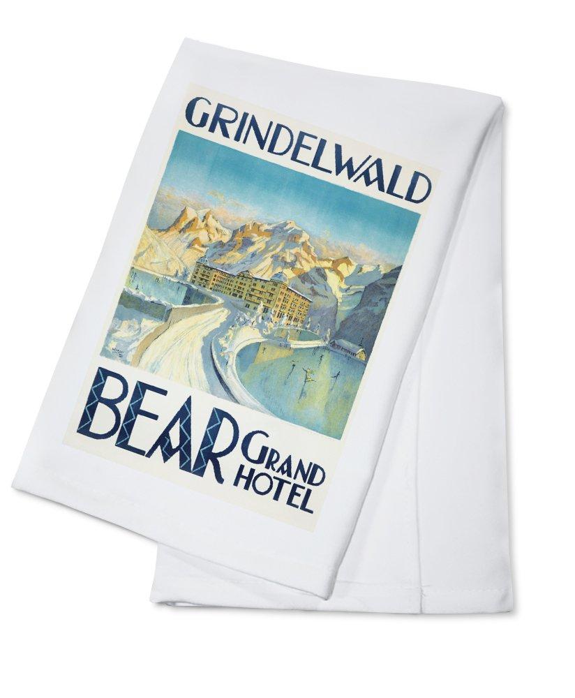 Grindelwald - Bear Grand Hotel Vintage Poster (artist: Enblom) Switzerland c. 1924 (100% Cotton Kitchen Towel)