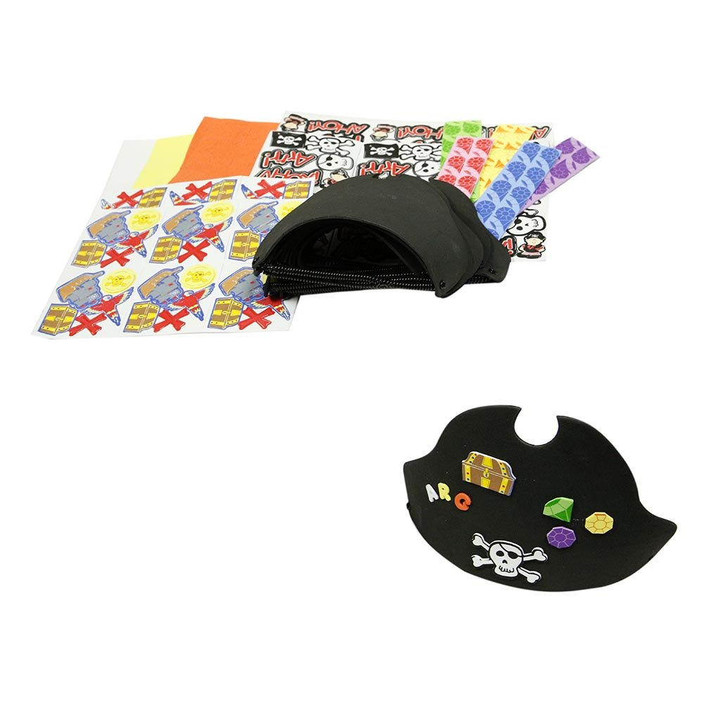 900b23540cd Amazon.com  Fun Express 12 ~ Foam Pirate Hats with Stickers ~ Includes  Vinyl Expandable Coil Bands and 426 Self-adhesive Foam Shapes ~ Approx.