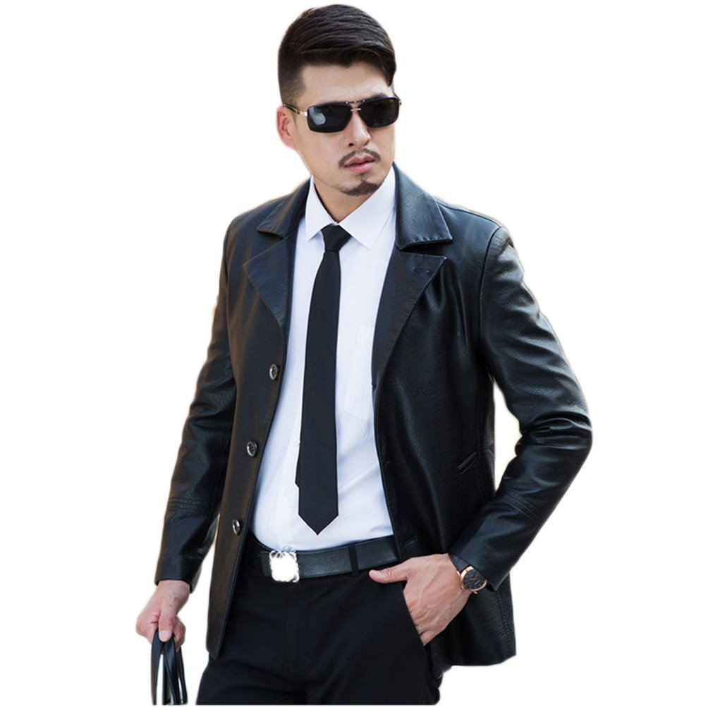 Love Dress Slim Fit Mens Leather Jacket Spring and Autumn Warm Coats Black XXL