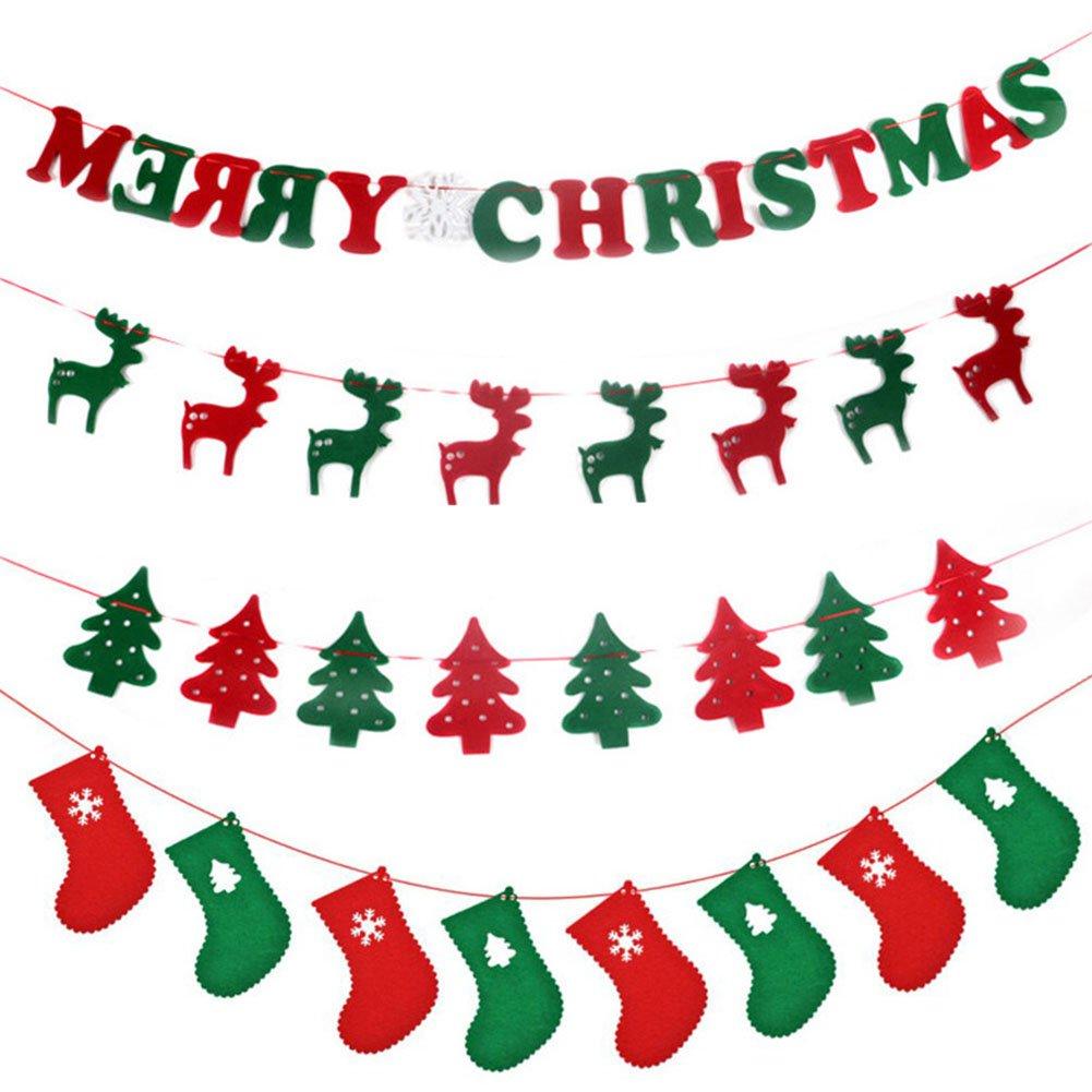 flintronic Stück Weihnachten 4 Pieces Weihnachtsbaum Girlande Banner ...