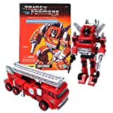 "Hasbro Year 2003 Transformers Generation One Re-Issue Commemorative ""Series V"" 5 Inch Tall Robot Action Figure - Autobot Search and Rescue INFERNO with 3 Missiles, 1 Pair of Removable Hand and Blaster Rifle (Vehicle Mode: Fire Engine Truck)"
