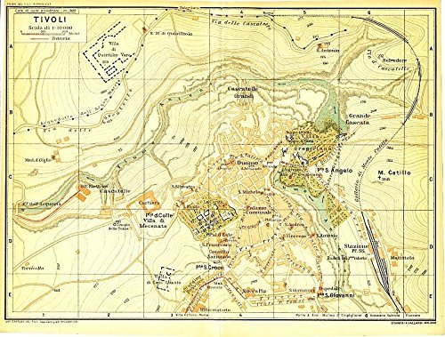 Tivoli Italy 1930 color lithograph city plan map