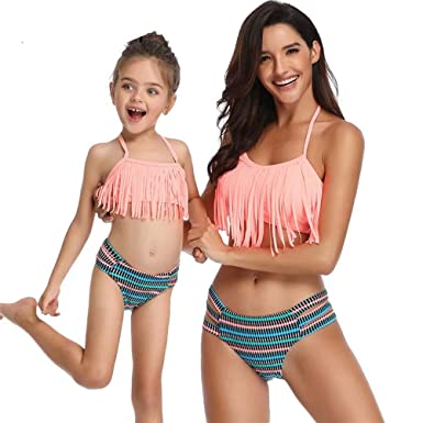 628b641325b Amazon.com: Swimsuits for Girls Women Bathing Suit Tassels Family Matching  Swimsuits Mom and Daughter Swimwear Bikini: Clothing