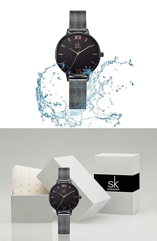 Amazon.com: Women Stainless Steel Band Watches Ladies Quartz Wristwatches Waterproof Unique Design Mesh Bracelet Watch (0039 Black SS): Watches