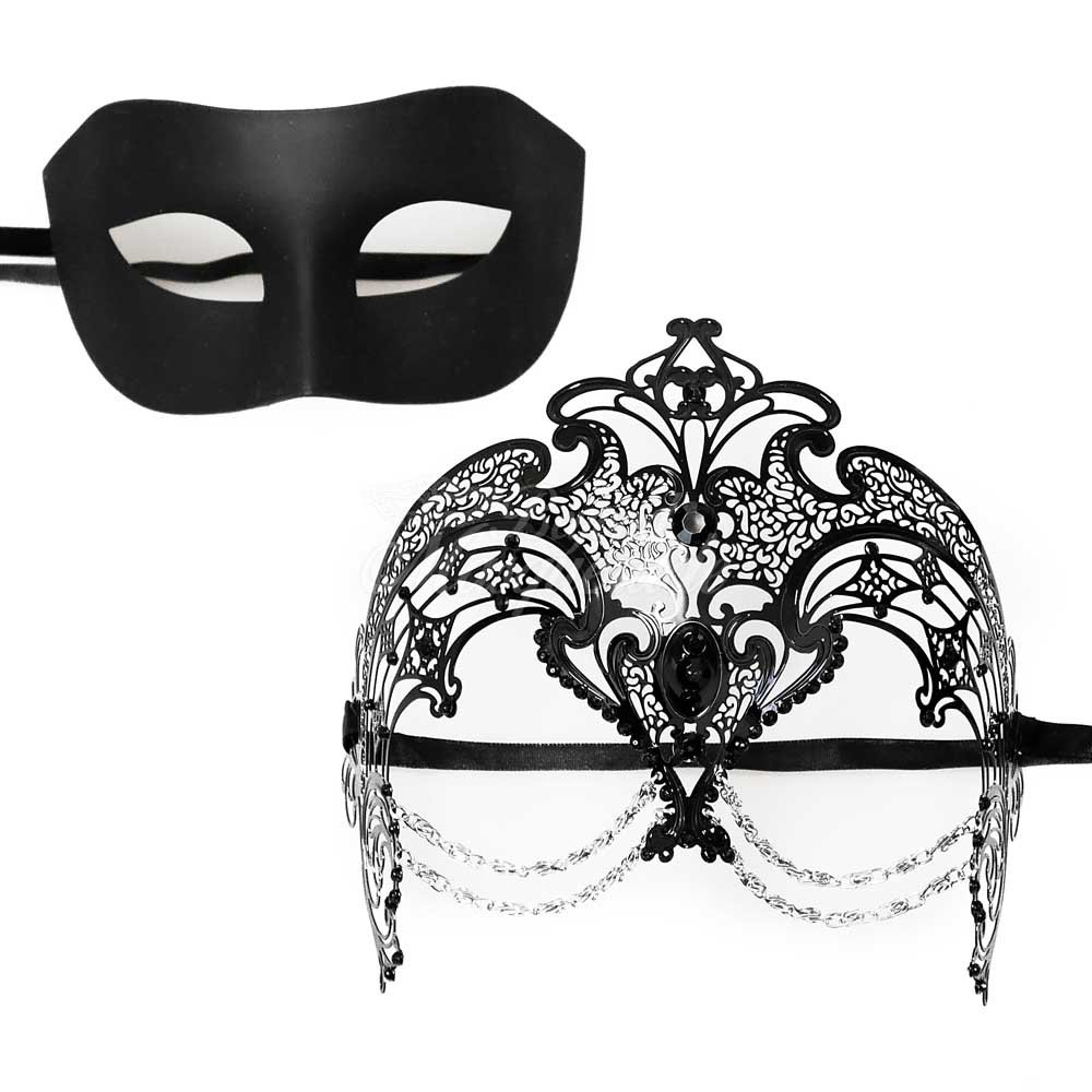 His & Hers Venetian Masquerade Mask for Couples [Black Themed] by MasqueradeParty