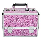 HST Beauty Box Lockable Makeup Cosmetic Organiser Vanity Case Nail Polish Jewelry Storage Holder, Pink Floral