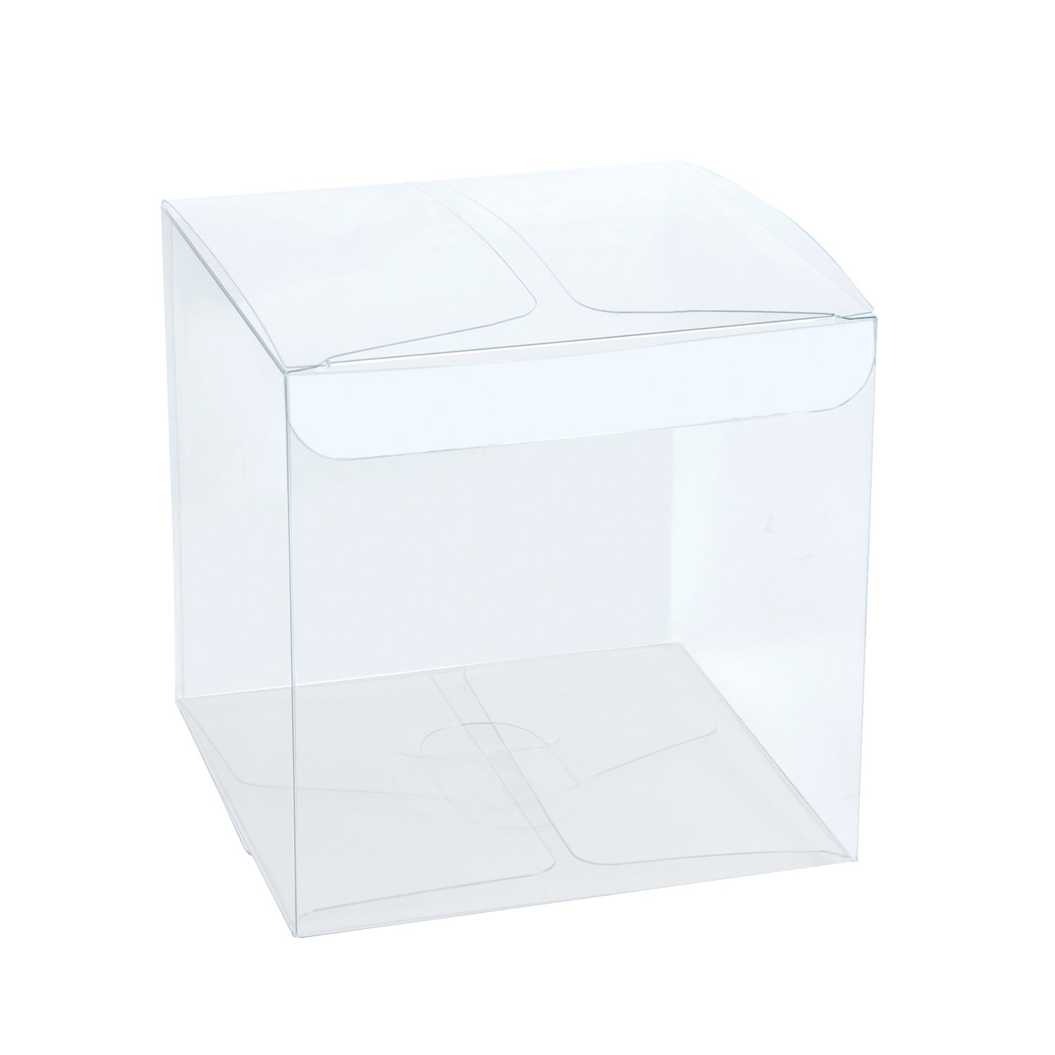 LaRibbons 50Pcs PET Clear Box, Transparent Boxes/Clear Gift Boxes for Wedding, Party and Baby Shower Favors, 3'' L x 3'' W x 3'' H