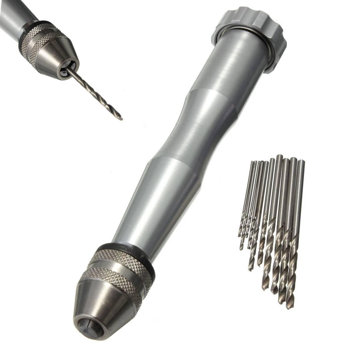 1x Micro Aluminum Hand Drill Drilling With Keyless Chuck +10x Twist Drills Bits
