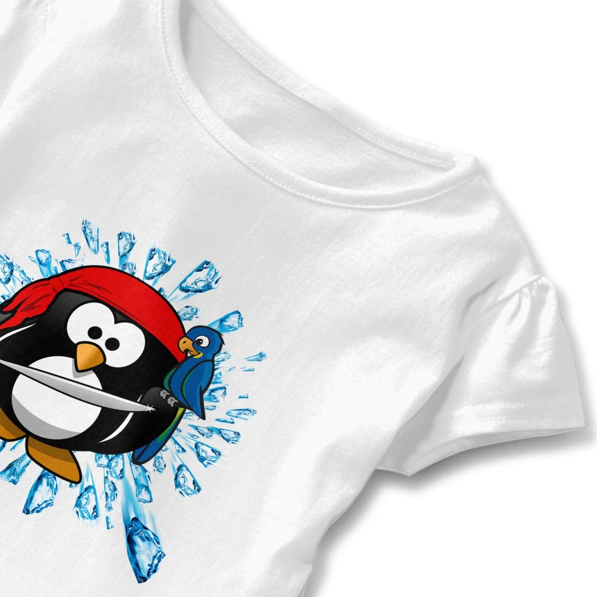 Penguin Pirate with A Parrot Toddler Baby Girls Short Sleeve Ruffle T-Shirt