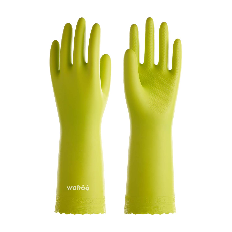 LANON Protection Reusable Cleaning Gloves Wahoo PVC Dishwashing Gloves w/Cotton Flock Liner, Non-Slip Household Gloves for Gardening, Kitchen, Waterproof, Large, Intertek Listed