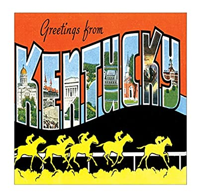 Greeting From Kentucky #1 Sandstone Coasters Square Set of 4