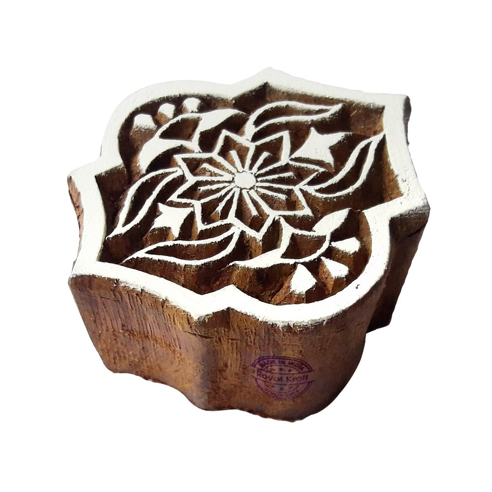 Decorative Floral Pattern Pine Tree Wood Block Print Stamp DIY Henna Fabric Textile Paper Clay Pottery Block Printing Stamp