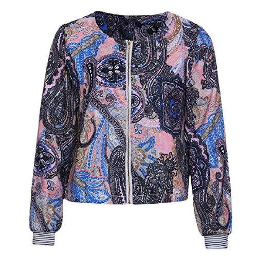 Mogogowomen Outwear Accogliente Cappotto Zip Fiore Stampato Girocollo 1 Frontale OOrYTq