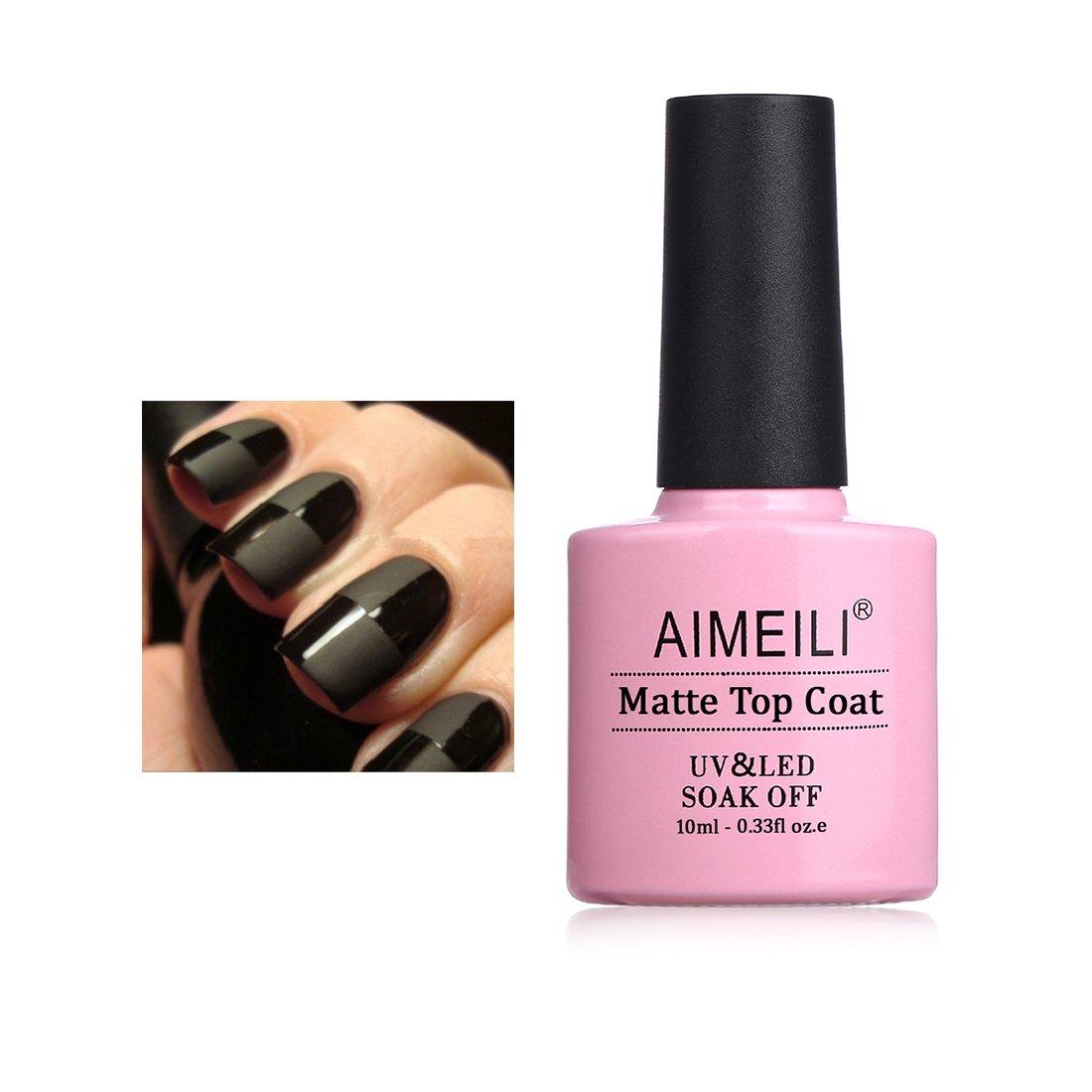AIMEILI Soak Off UV LED Gel Nail Polish - No Wipe Matte Top Coat 10ml