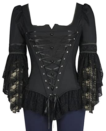 3c395dfcd35 XS-18) Augustine - Black Ribbed Corset Gothic Steampunk Lace Sleeve ...
