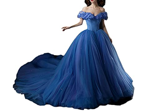 Luccatown Women Cinderella Off Shoulder Butterfly Prom Dress Princess Ball Gown Dress Blue US 6