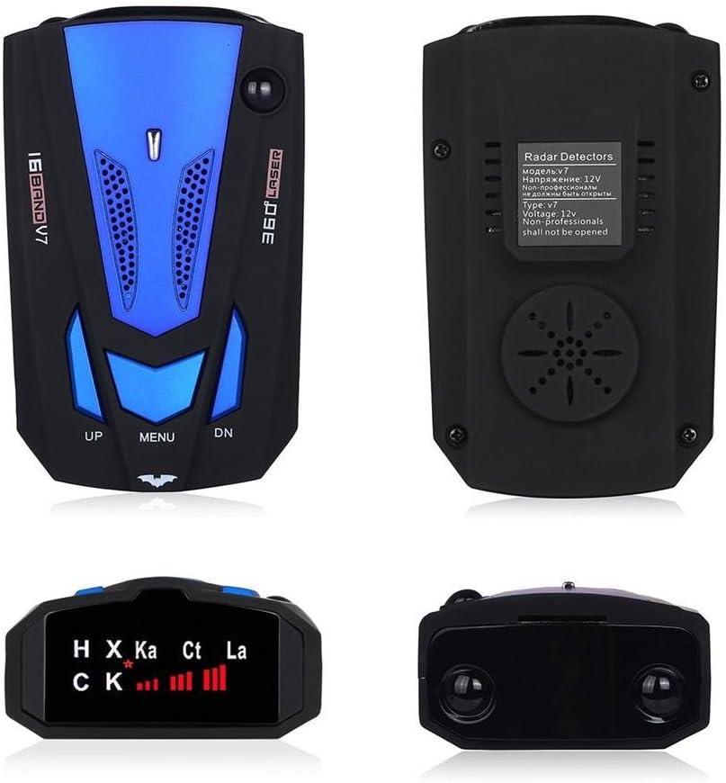 Zhuotop V7/D/étecteur de radar Balayage complet 360/° 16/bandes D/étecteur de laser Test de vitesse Syst/ème dalerte vocale GPS pour voiture LED Bleu