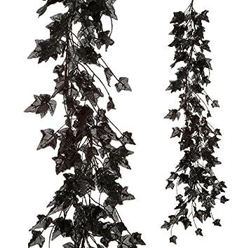 raz imports halloween decor black glitter ivy leaf garland 4ft