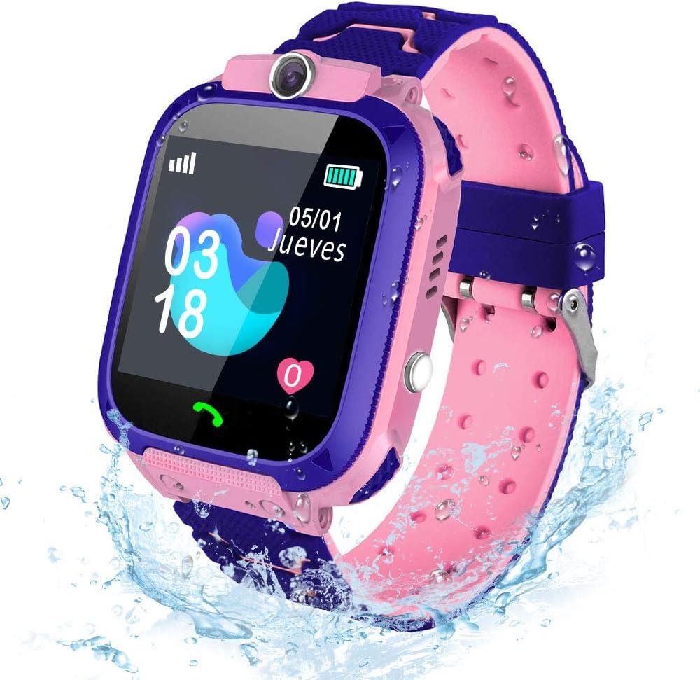 AIMIUVEI Smartwatch Niños, Reloj Inteligente Niña IP67, LBS, Llamada Bidireccional, SOS Modo de Clase, Cámara, Juegos, Regalo para Niño Niña de 3-12 años, Smartwatch soporta 2G Tarjeta Micro SIM