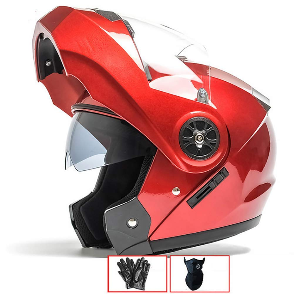 Rosa ECE Certificado Rojo Plata 54-60cm LALEO Casco Moto Modular Integral Casco Moto Abierto para Hombres y Mujeres Doble Visera