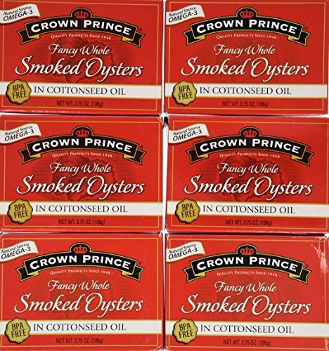 Crown Prince Fancy Whole Oysters in Cottonseed Oil 3.75 Oz (Pack of 6)