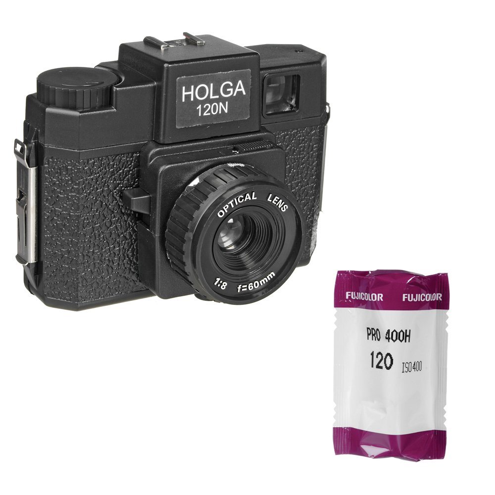 Holga 120N Medium Format Fixed Focus Camera with Lens with Fujifilm Fujicolor Pro 400H Color Negative Film, ISO 400, 120 Size by Holga