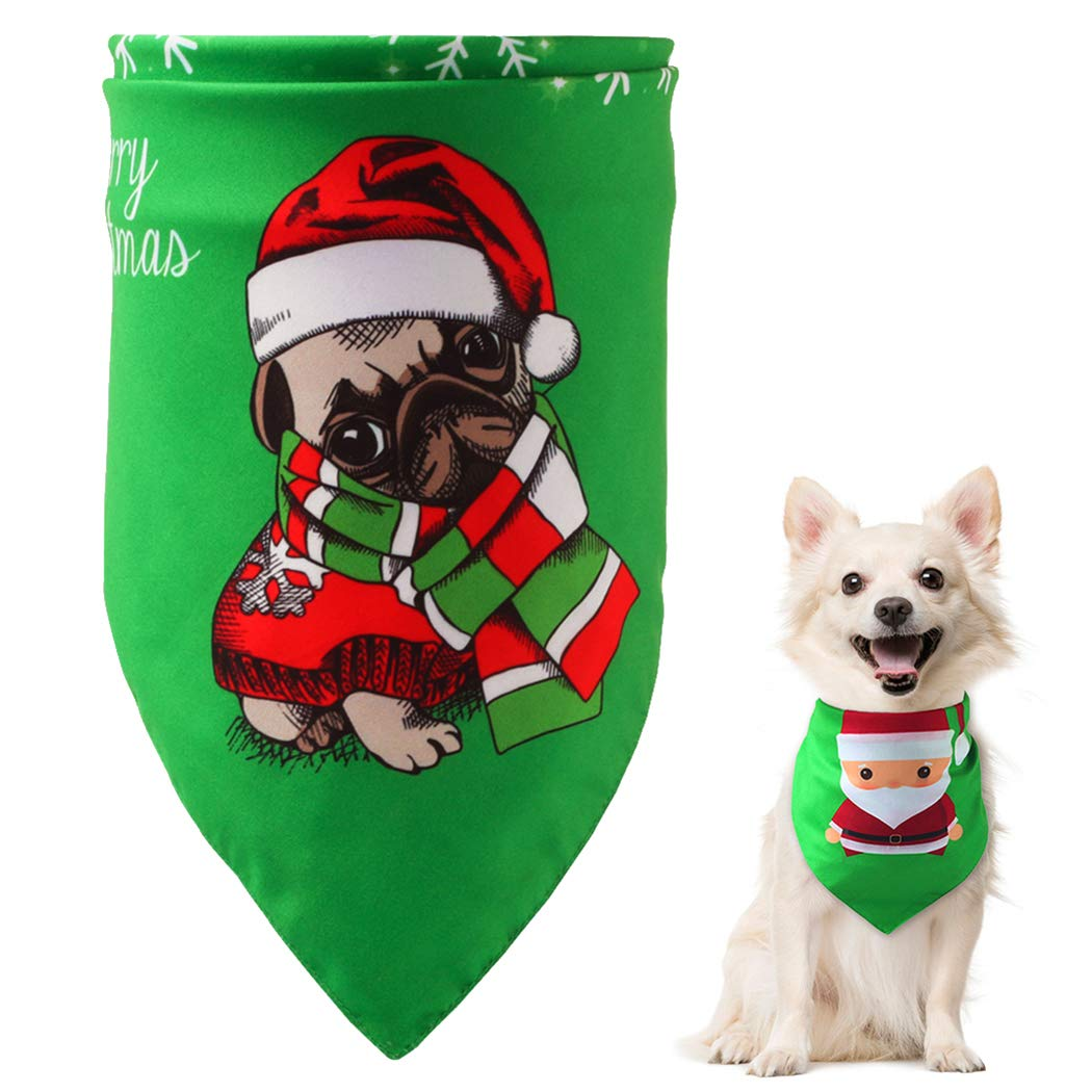 Fansport Christmas Dog Bandana Washable Reversible Pet Bandanas Christmas Dog Kerchief Set Pet Triangle Bibs for Christmas Pet Costume Dog Triangle Bibs
