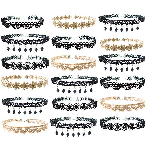 FROG SAC 18 PCs Black and Gold Lace Choker Necklace Set for Women and Girls - Great and Party Favors Fashion Jewelry