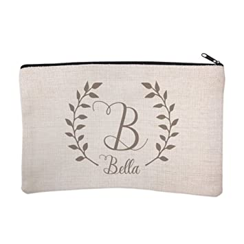 b5199dcca80e Amazon.com : Personalized Script Name with Laurel Cosmetic and Makeup Bag :  Beauty