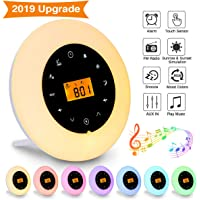 Wake Up Light,Elfeland Radio Alarm Clocks LED Bedside Lamp Touch Control Night Light Sunrise Sunset Simulator 10 Nature Sounds 8 Color Changeable FM Snooze Brightness Adjustable Ideal for Bedroom Gift