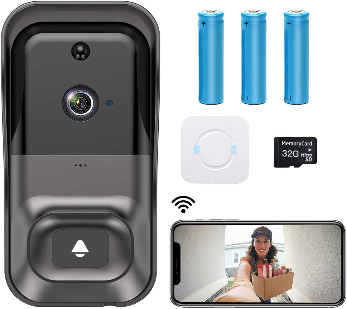 ?2021 Upgrade? WiFi Video Doorbell Camera,CASTRIES 1080P Wireless Doorbell Camera with Indoor Chime,2-Way Audio,Motion Detection,Night Vision,IP65 Waterproof,Cloud Storage and 32GB SD Card Included