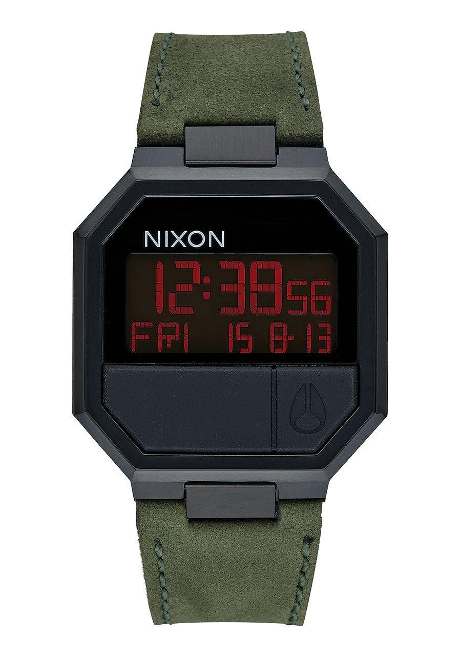 Nixon Unisex Re-Run Leather All Black/Green Watch
