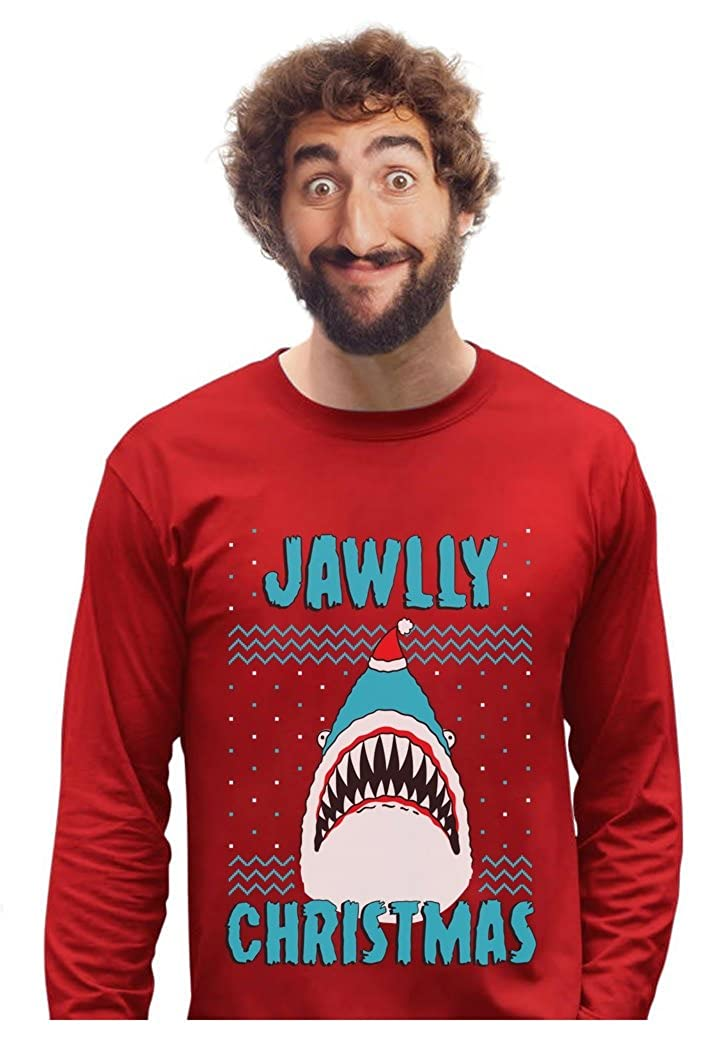 Jawlly Christmas Ugly Christmas Sweater for Xmas Party Shark Long Sleeve T-Shirt GMPlhhPgC
