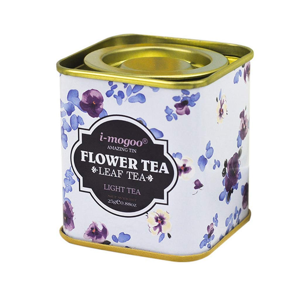 lightclub Flower Tinplate Candy Gift Tea Storage Box Pry Cover Party Cookie Jar Snacks Pot with Lid for Wedding, Birthday Party, Baby Shower A