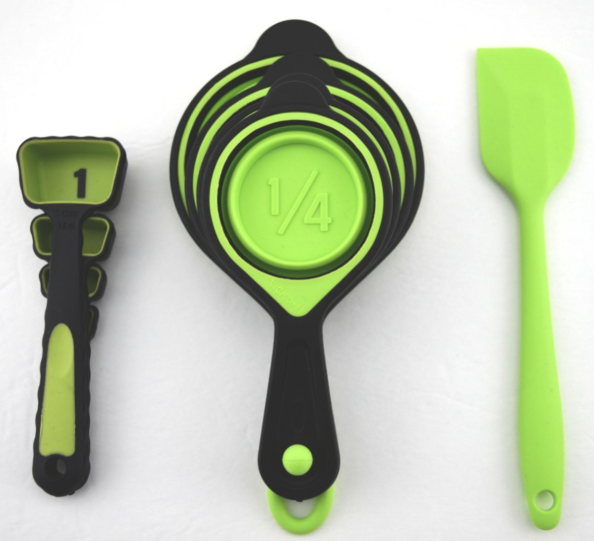 Collapsible SILICONE MEASURING CUPS AND SPOONS - 6 COLOR OPTIONS ...