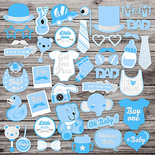39Pcs Blue Glittering Baby Shower Photo Booth Props Baby Boy Shower Blue Theme Party Fvors Supplies Great for Lovely Baby, Baby Shower -