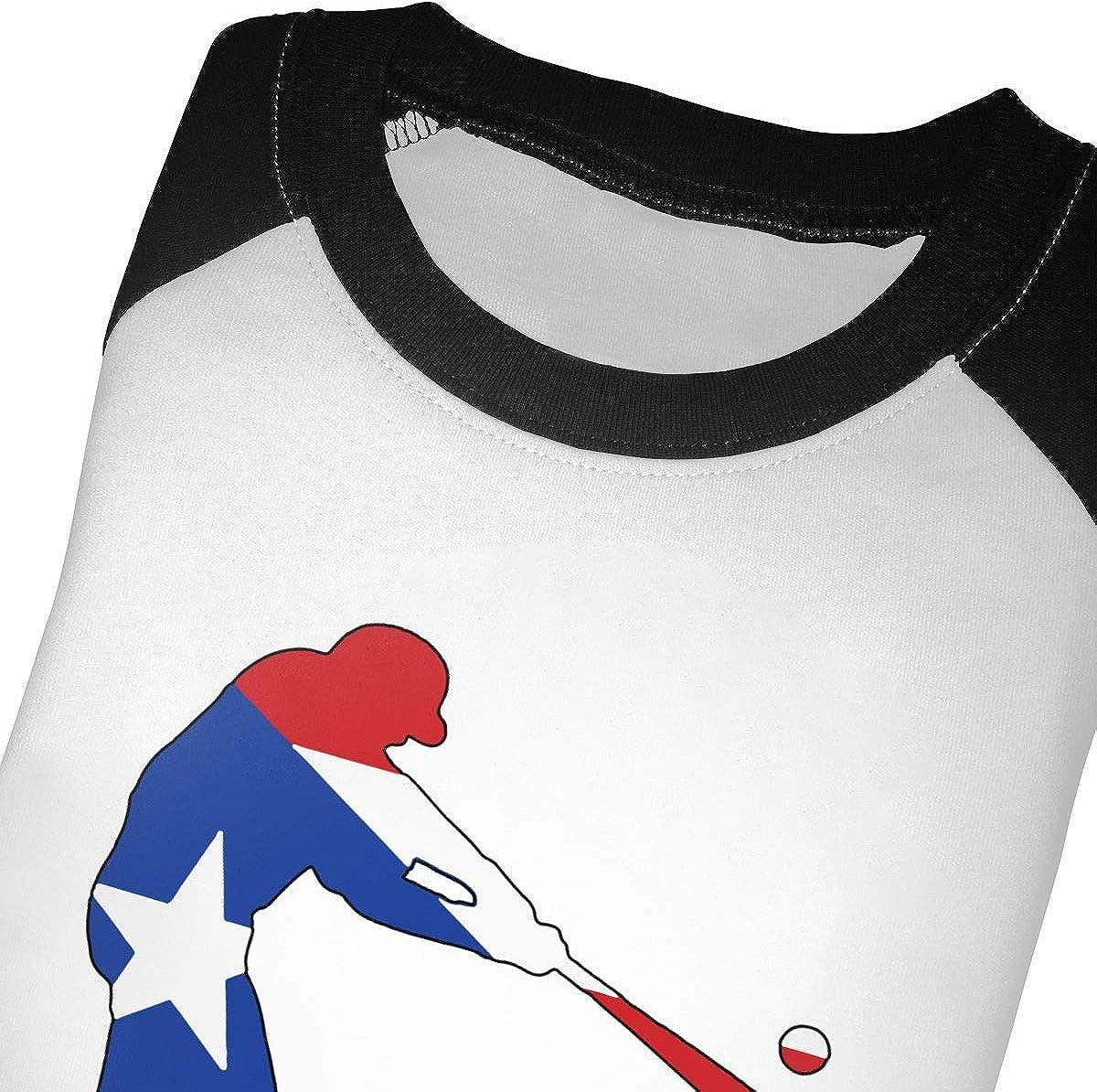 Boys Girls Kids /& Toddler Puerto Rico Baseball Long Sleeve Tees 100/% Cotton