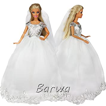 45c50a130bc3e 「Barwawa」結婚式 飾り バービー用 ウェディングドレス 1 6ドール用 人形