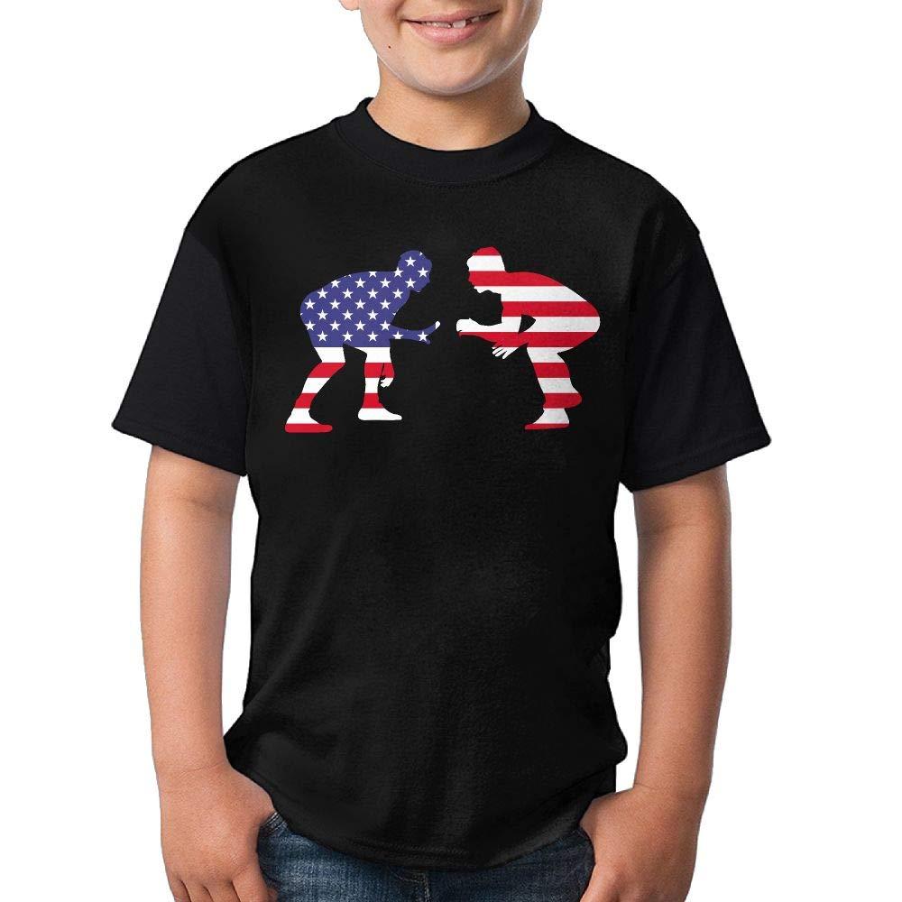 HUDS VIFV American Wrestling Proud Wrestler Youth Crew Neck Short Sleeve T Shirts Tees