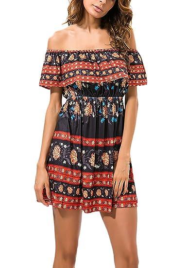 ... Flores Estampados Vestidos Hombros Descubiertos Barco Cuello Juveniles Moda Vestido Vestidos Informales Dresses Señoras: Amazon.es: Ropa y accesorios