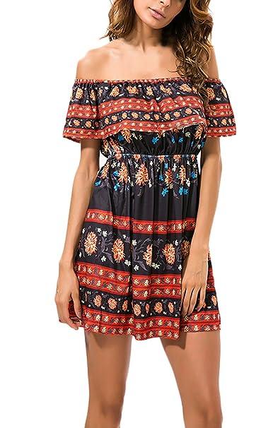 Vestidos Verano Mujer Elegantes Cortos Casual Vintage Boho Flores Estampados Vestidos Hippies Hombros Descubiertos Barco Cuello