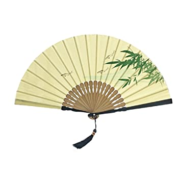 Amazon.com: Ayiqi Chinese Style Classical Silk Folding Fan Bamboo ...