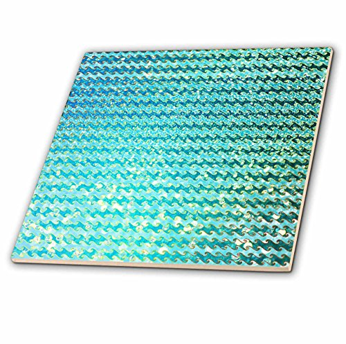 3dRose ct_272858_2 Sparkling Teal Luxury Elegant Mermaid Sea Ocean Waves Ceramic Tiles, by 3dRose