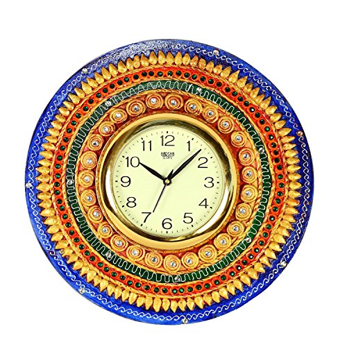 The Hue Cottage Wooden Wall Clock Indian Painted Multicolor