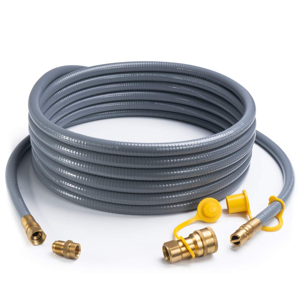 SHINESTAR 24 Feet 1/2-inch ID Natural Gas Hose with Quick Connect/Disconnect Fittings & 3/8 Female to 1/2 Male Adapter for Outdoor NG/Propane Appliance