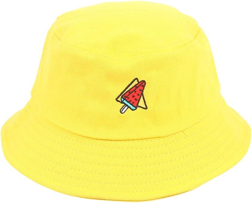 56-58cm Amarillo Wonque Summer Sombrero de Cubo Bordado Simple Pescador Sun Cap 1 Pieza algod/ón