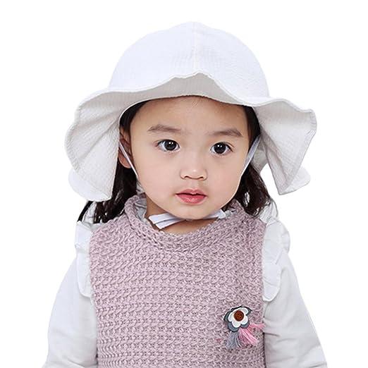 74341fddd39 Amazon.com  Aniwon Baby Girls Summer Beach Sun Hats UV Protection Wide Brim  Hat with Strap (White)  Baby