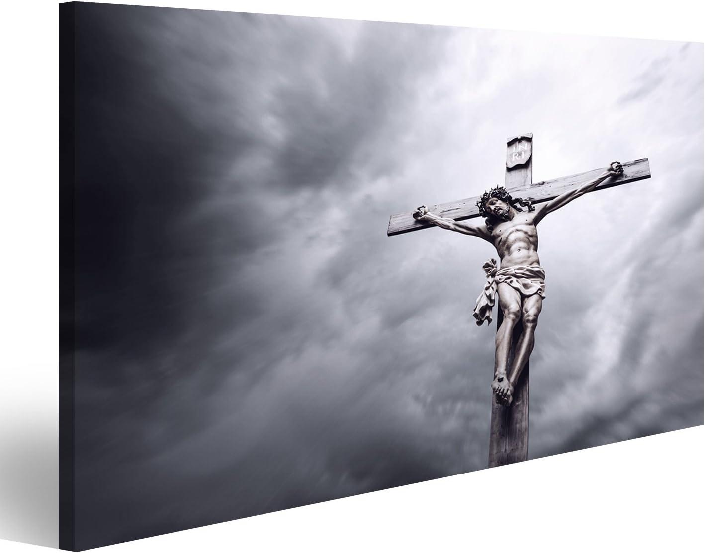 islandburner Cuadro Cuadros Crucifixión de Jesucristo Religiosa Impresión sobre Lienzo - Formato Grande - Cuadros Modernos