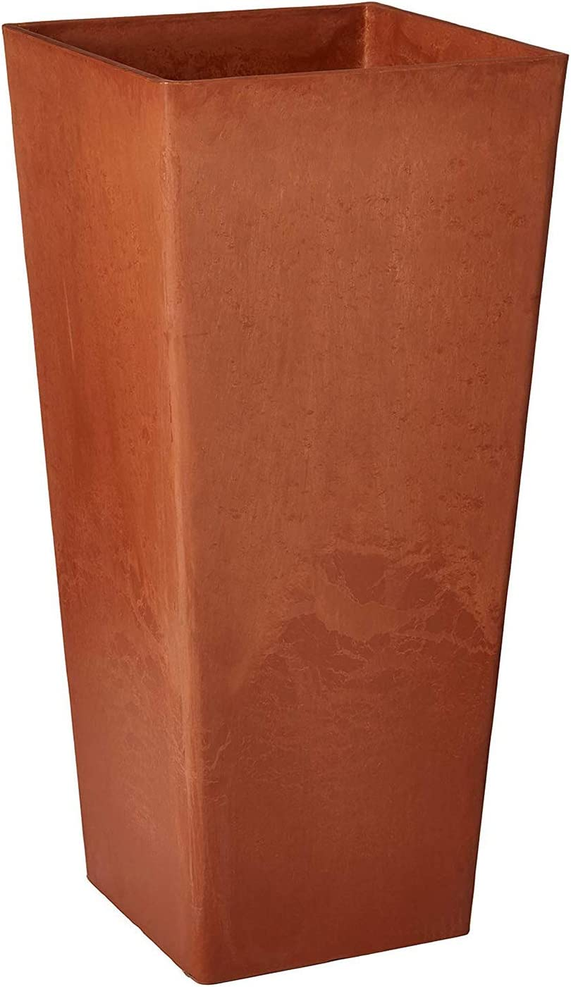"Arcadia Garden Products PSW UFH41TC Contemporary Tall Square Planter, 16 by 16 by 32"", Terra Cotta Color"